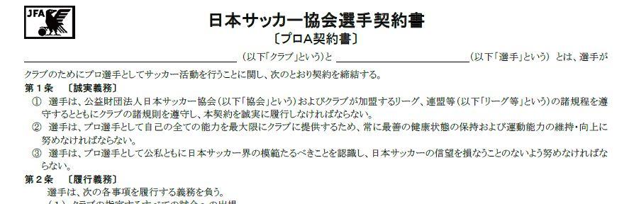 日本サッカー協会選手契約書