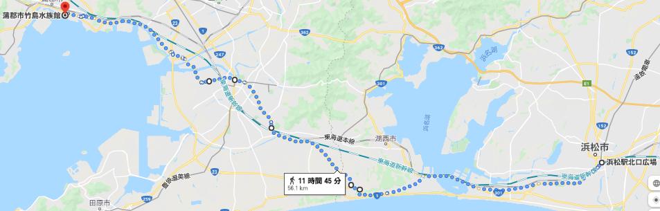 浜松から蒲郡までのルート