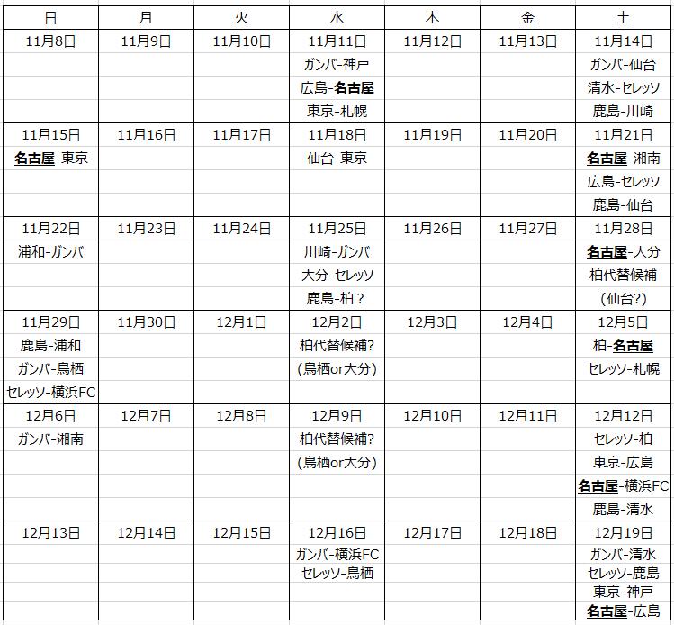 今後の日程カレンダー