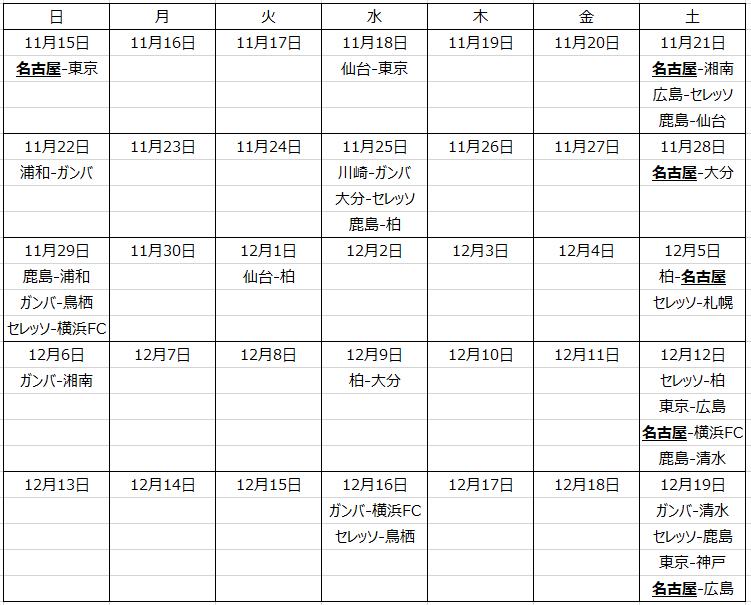 カレンダー形式のスケジュール