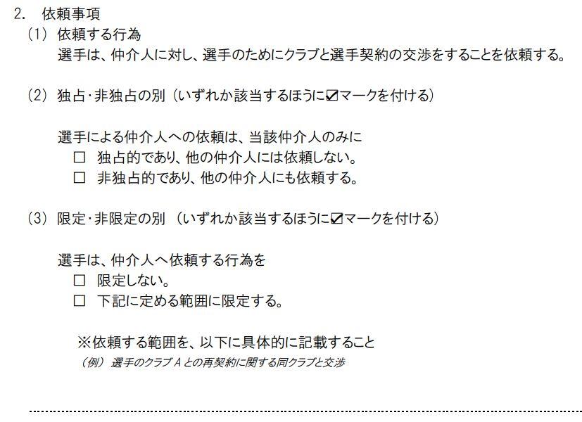 JFA標準仲介人契約書(依頼事項)